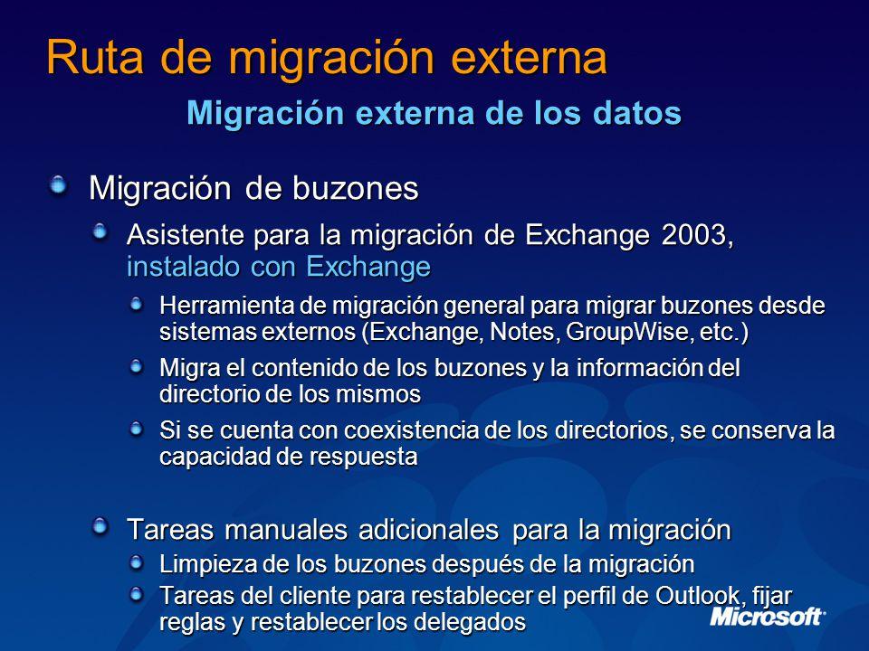 Migración de buzones Asistente para la migración de Exchange 2003, instalado con Exchange Herramienta de migración general para migrar buzones desde sistemas externos (Exchange, Notes, GroupWise, etc.) Migra el contenido de los buzones y la información del directorio de los mismos Si se cuenta con coexistencia de los directorios, se conserva la capacidad de respuesta Tareas manuales adicionales para la migración Limpieza de los buzones después de la migración Tareas del cliente para restablecer el perfil de Outlook, fijar reglas y restablecer los delegados Ruta de migración externa Migración externa de los datos
