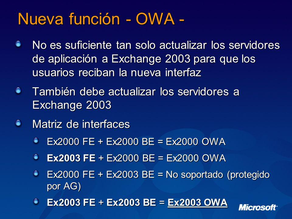 Nueva función - OWA - No es suficiente tan solo actualizar los servidores de aplicación a Exchange 2003 para que los usuarios reciban la nueva interfaz También debe actualizar los servidores a Exchange 2003 Matriz de interfaces Ex2000 FE + Ex2000 BE = Ex2000 OWA Ex2003 FE + Ex2000 BE = Ex2000 OWA Ex2000 FE + Ex2003 BE = No soportado (protegido por AG) Ex2003 FE + Ex2003 BE = Ex2003 OWA