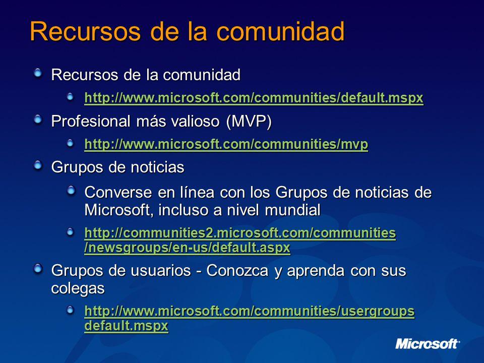 Recursos de la comunidad http://www.microsoft.com/communities/default.mspx Profesional más valioso (MVP) http://www.microsoft.com/communities/mvp Grupos de noticias Converse en línea con los Grupos de noticias de Microsoft, incluso a nivel mundial http://communities2.microsoft.com/communities /newsgroups/en-us/default.aspx http://communities2.microsoft.com/communities /newsgroups/en-us/default.aspx Grupos de usuarios - Conozca y aprenda con sus colegas http://www.microsoft.com/communities/usergroups default.mspx http://www.microsoft.com/communities/usergroups default.mspx