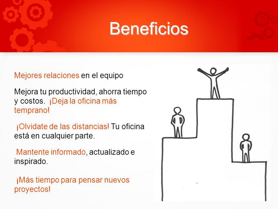 Beneficios Mejores relaciones en el equipo Mejora tu productividad, ahorra tiempo y costos.