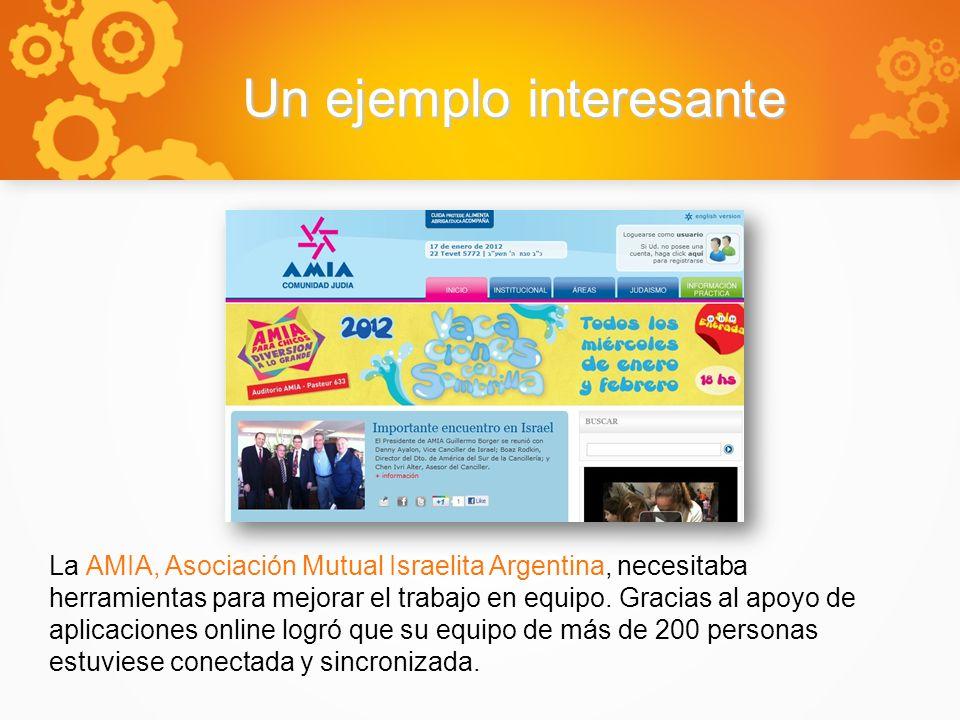 Un ejemplo interesante La AMIA, Asociación Mutual Israelita Argentina, necesitaba herramientas para mejorar el trabajo en equipo.