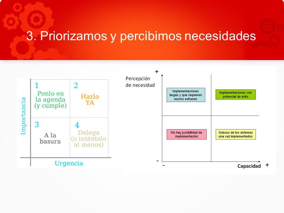 3. Priorizamos y percibimos necesidades