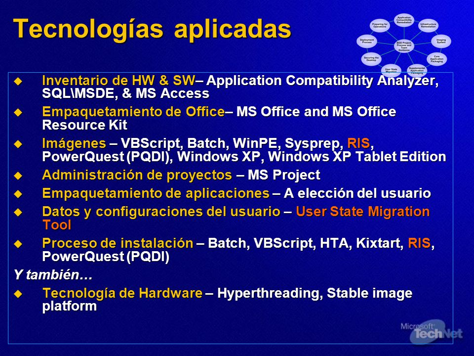 Tecnologías aplicadas Inventario de HW & SW– Application Compatibility Analyzer, SQL\MSDE, & MS Access Inventario de HW & SW– Application Compatibility Analyzer, SQL\MSDE, & MS Access Empaquetamiento de Office– MS Office and MS Office Resource Kit Empaquetamiento de Office– MS Office and MS Office Resource Kit Imágenes – VBScript, Batch, WinPE, Sysprep, RIS, PowerQuest (PQDI), Windows XP, Windows XP Tablet Edition Imágenes – VBScript, Batch, WinPE, Sysprep, RIS, PowerQuest (PQDI), Windows XP, Windows XP Tablet Edition Administración de proyectos – MS Project Administración de proyectos – MS Project Empaquetamiento de aplicaciones – A elección del usuario Empaquetamiento de aplicaciones – A elección del usuario Datos y configuraciones del usuario – User State Migration Tool Datos y configuraciones del usuario – User State Migration Tool Proceso de instalación – Batch, VBScript, HTA, Kixtart, RIS, PowerQuest (PQDI) Proceso de instalación – Batch, VBScript, HTA, Kixtart, RIS, PowerQuest (PQDI) Y también… Tecnología de Hardware – Hyperthreading, Stable image platform Tecnología de Hardware – Hyperthreading, Stable image platform