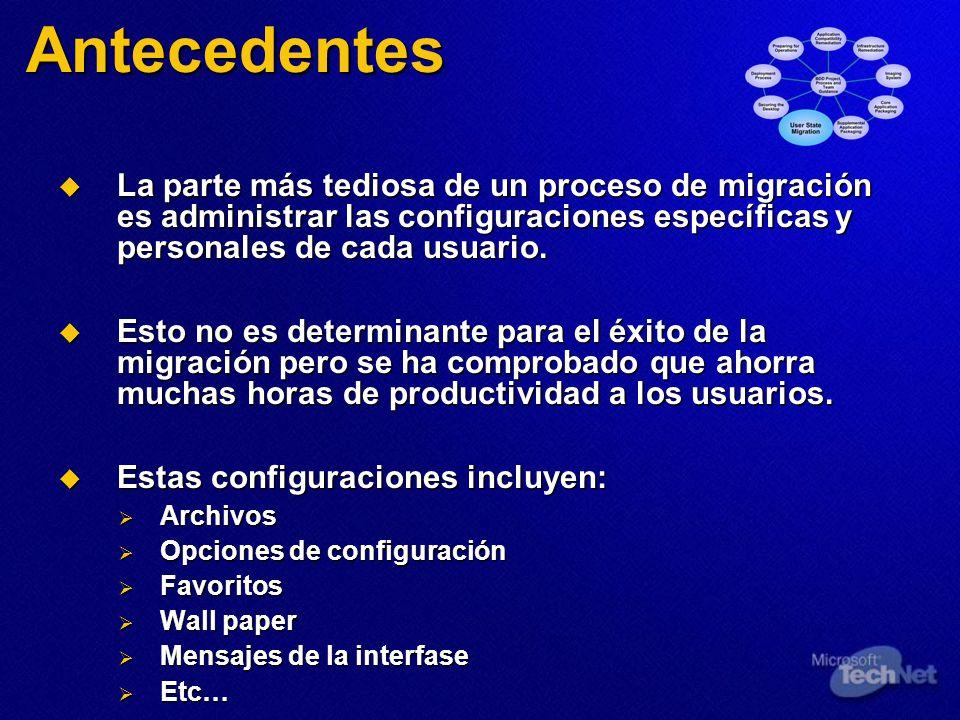 Antecedentes La parte más tediosa de un proceso de migración es administrar las configuraciones específicas y personales de cada usuario. La parte más