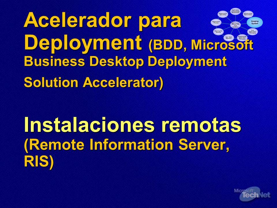 Acelerador para Deployment (BDD, Microsoft Business Desktop Deployment Solution Accelerator) Instalaciones remotas (Remote Information Server, RIS)