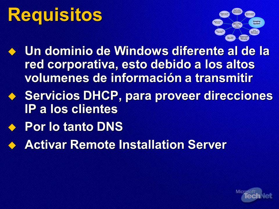Requisitos Un dominio de Windows diferente al de la red corporativa, esto debido a los altos volumenes de información a transmitir Un dominio de Windo