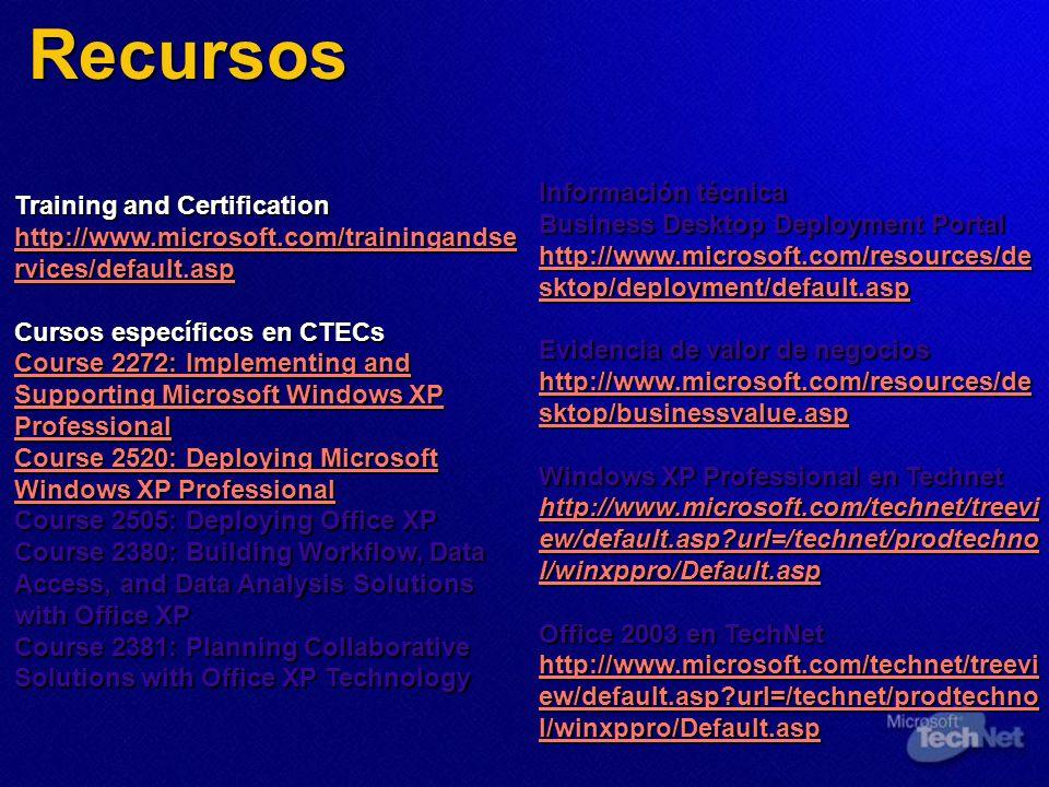 Recursos Training and Certification http://www.microsoft.com/trainingandse rvices/default.asp http://www.microsoft.com/trainingandse rvices/default.as