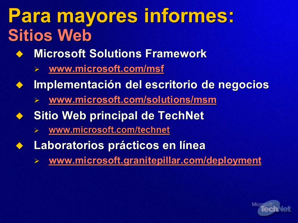 Para mayores informes: Sitios Web Microsoft Solutions Framework Microsoft Solutions Framework www.microsoft.com/msf www.microsoft.com/msf www.microsoft.com/msf Implementación del escritorio de negocios Implementación del escritorio de negocios www.microsoft.com/solutions/msm www.microsoft.com/solutions/msm Sitio Web principal de TechNet Sitio Web principal de TechNet www.microsoft.com/technet www.microsoft.com/technet www.microsoft.com/technet Laboratorios prácticos en línea Laboratorios prácticos en línea www.microsoft.granitepillar.com/deployment www.microsoft.granitepillar.com/deployment
