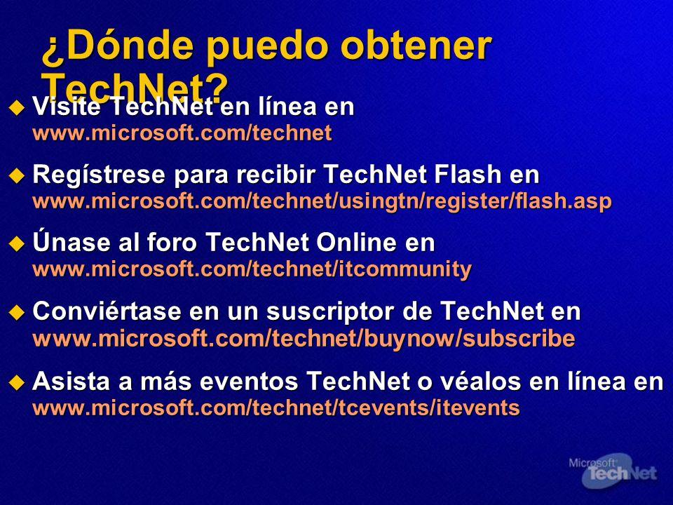 ¿Dónde puedo obtener TechNet.