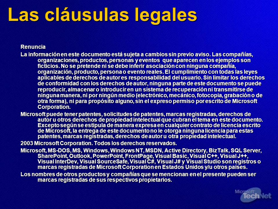 Las cláusulas legales Renuncia La información en este documento está sujeta a cambios sin previo aviso. Las compañías, organizaciones, productos, pers