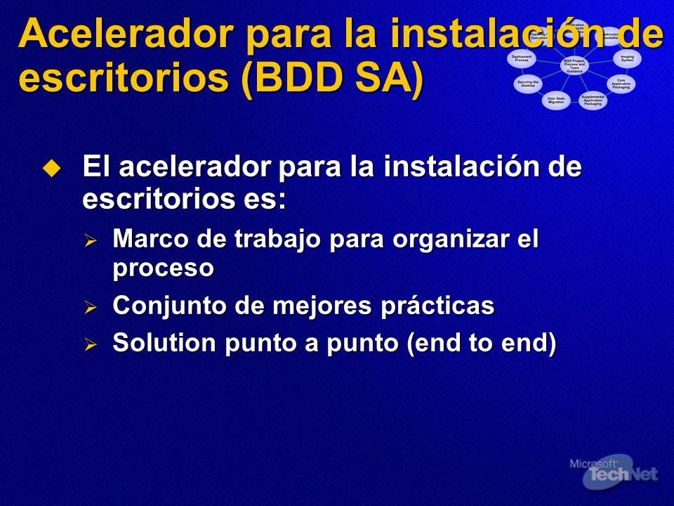 Acelerador para Deployment (BDD, Microsoft Business Desktop Deployment Solution Accelerator) Herramientas para la migración del estado del usuario (User State Migration Tools, USMT)
