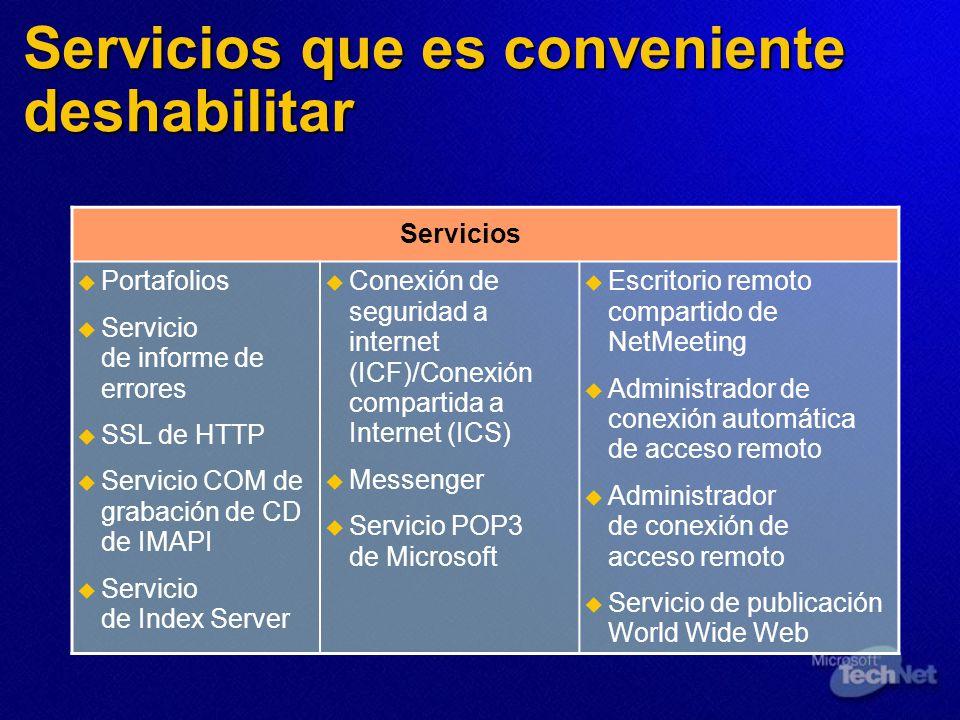 Servicios que es conveniente deshabilitar Servicios Portafolios Servicio de informe de errores SSL de HTTP Servicio COM de grabación de CD de IMAPI Se