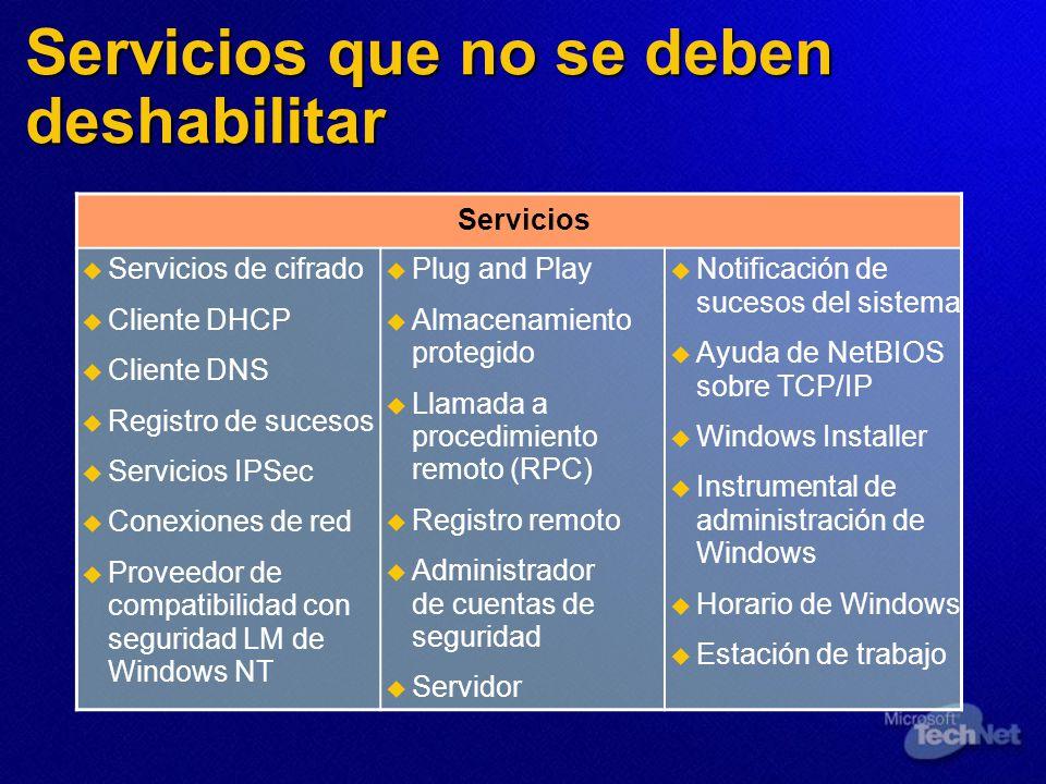 Servicios que no se deben deshabilitar Servicios Servicios de cifrado Cliente DHCP Cliente DNS Registro de sucesos Servicios IPSec Conexiones de red P