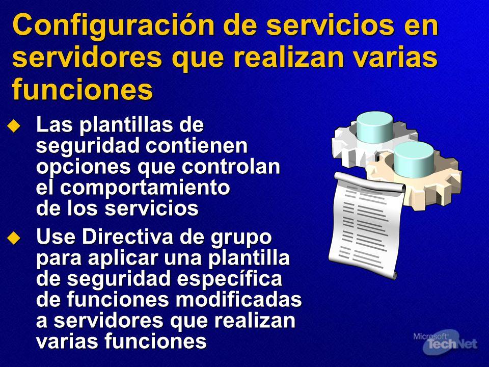 Configuración de servicios en servidores que realizan varias funciones Las plantillas de seguridad contienen opciones que controlan el comportamiento