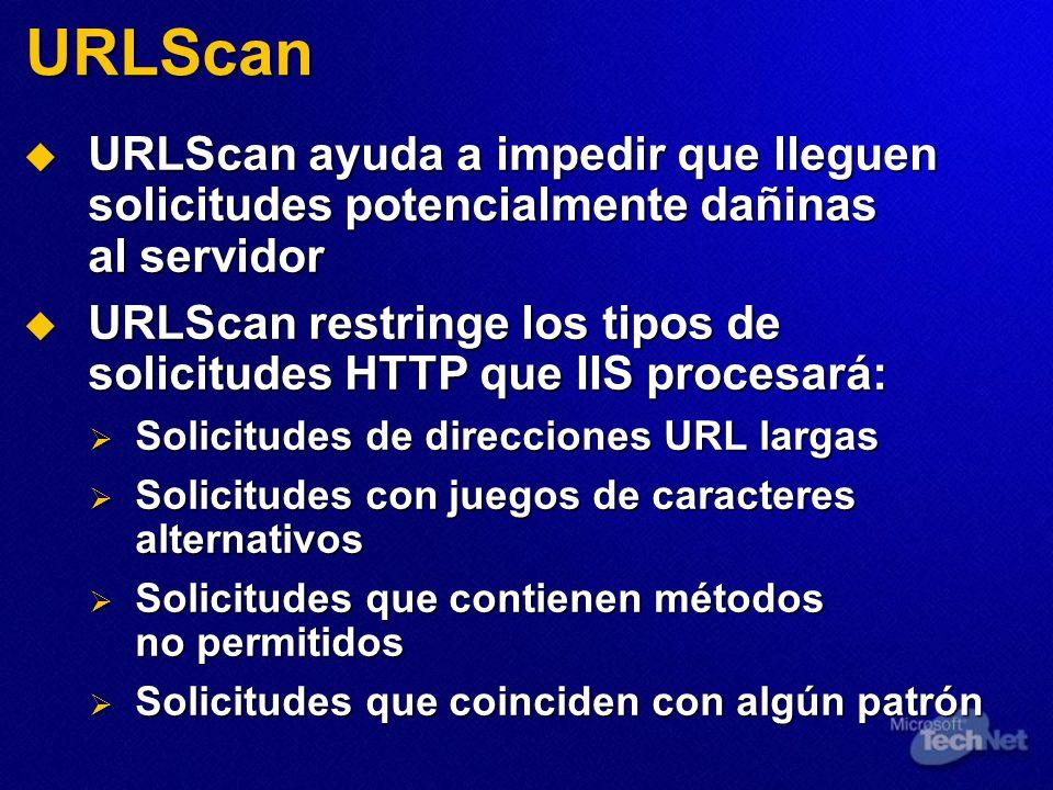 URLScan URLScan ayuda a impedir que lleguen solicitudes potencialmente dañinas al servidor URLScan ayuda a impedir que lleguen solicitudes potencialme