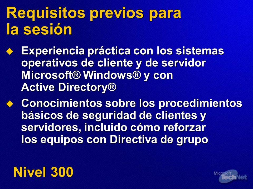 Requisitos previos para la sesión Experiencia práctica con los sistemas operativos de cliente y de servidor Microsoft® Windows® y con Active Directory