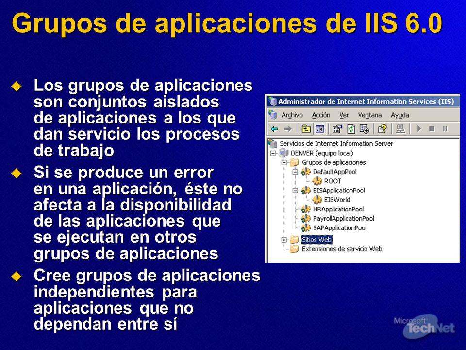 Grupos de aplicaciones de IIS 6.0 Los grupos de aplicaciones son conjuntos aislados de aplicaciones a los que dan servicio los procesos de trabajo Los