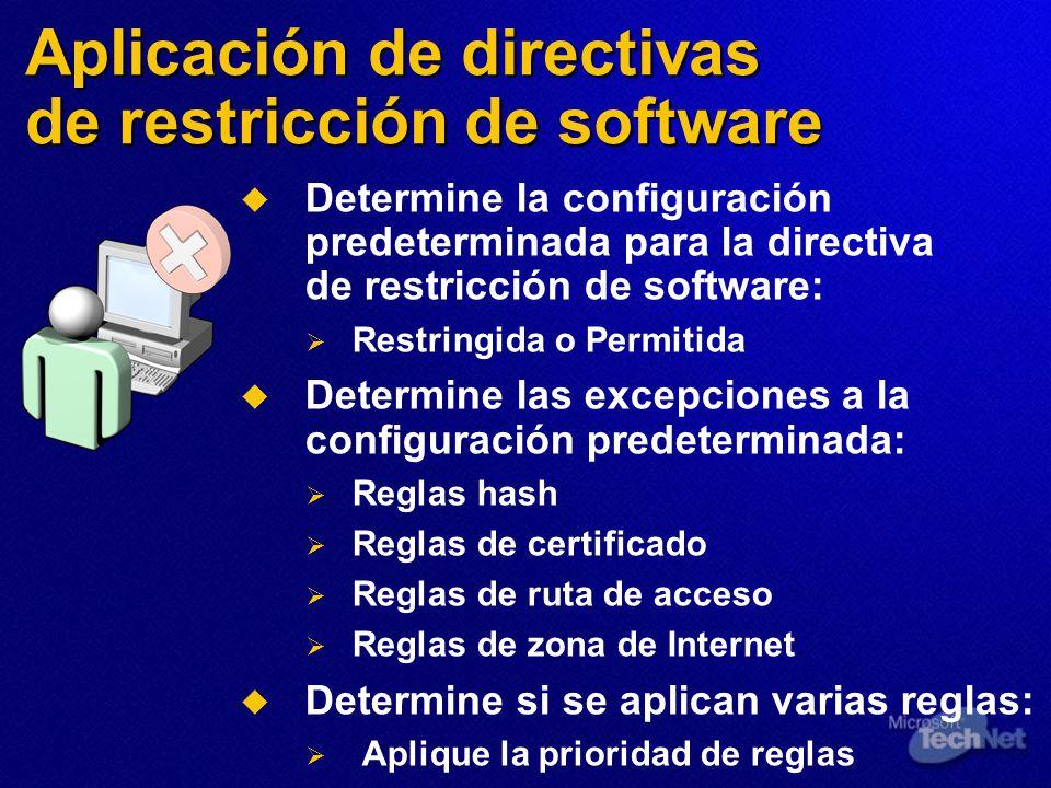 Aplicación de directivas de restricción de software Determine la configuración predeterminada para la directiva de restricción de software: Restringid