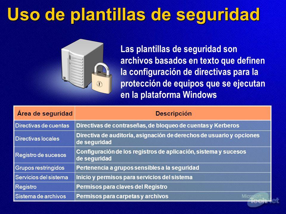 Uso de plantillas de seguridad Área de seguridadDescripción Directivas de cuentasDirectivas de contraseñas, de bloqueo de cuentas y Kerberos Directiva