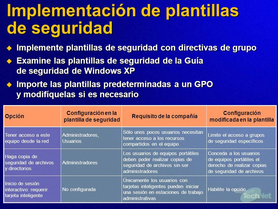 Implementación de plantillas de seguridad Opción Configuración en la plantilla de seguridad Requisito de la compañía Configuración modificada en la pl