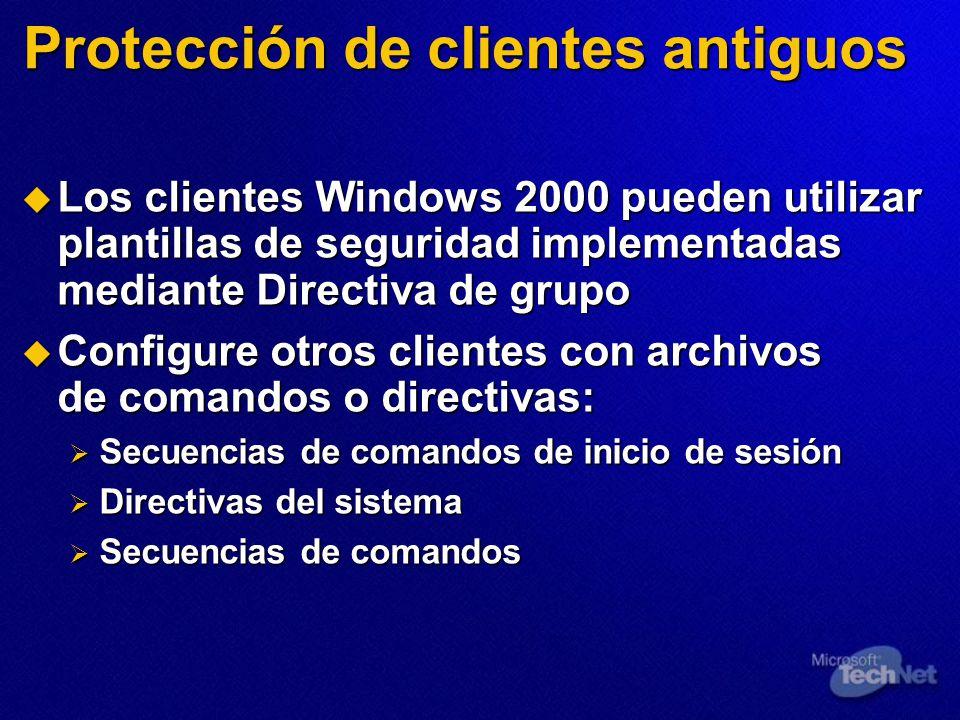 Protección de clientes antiguos Los clientes Windows 2000 pueden utilizar plantillas de seguridad implementadas mediante Directiva de grupo Los client