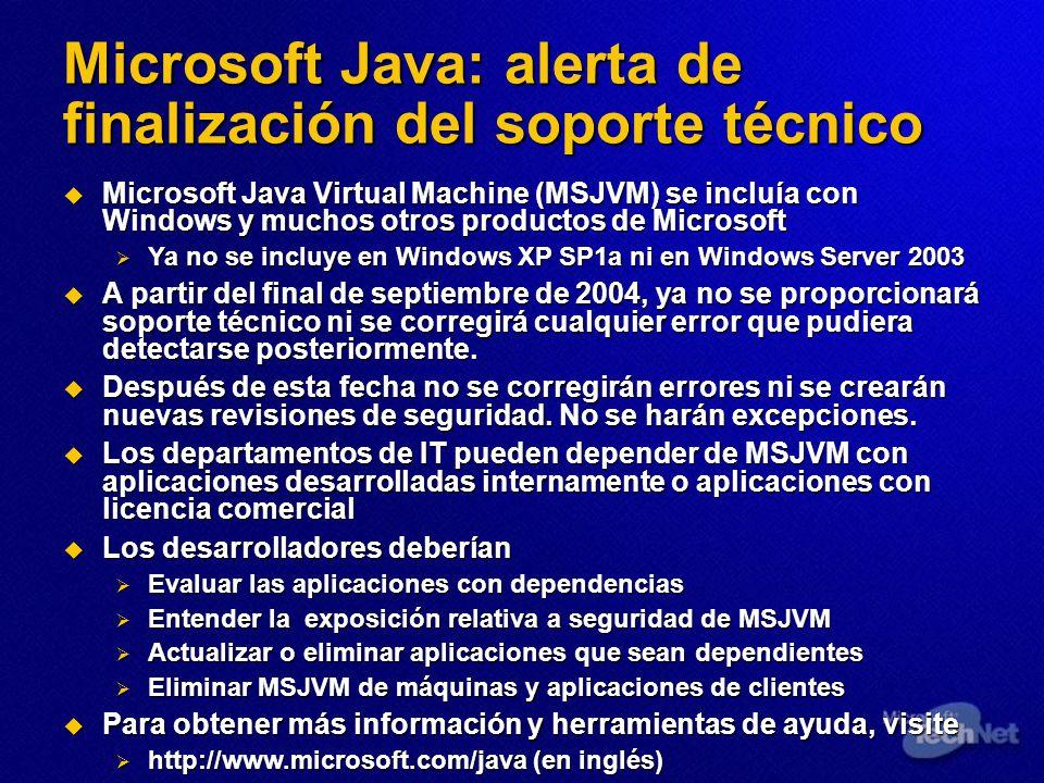 Microsoft Java: alerta de finalización del soporte técnico Microsoft Java Virtual Machine (MSJVM) se incluía con Windows y muchos otros productos de M