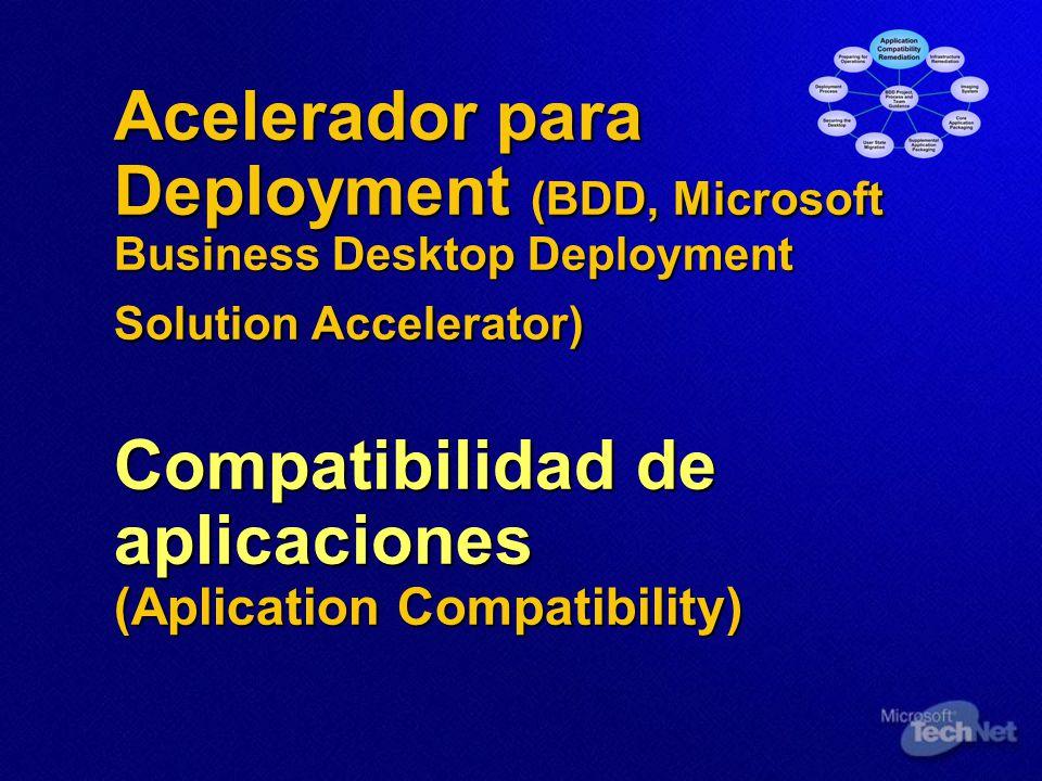 Acelerador para Deployment (BDD, Microsoft Business Desktop Deployment Solution Accelerator) Compatibilidad de aplicaciones (Aplication Compatibility)