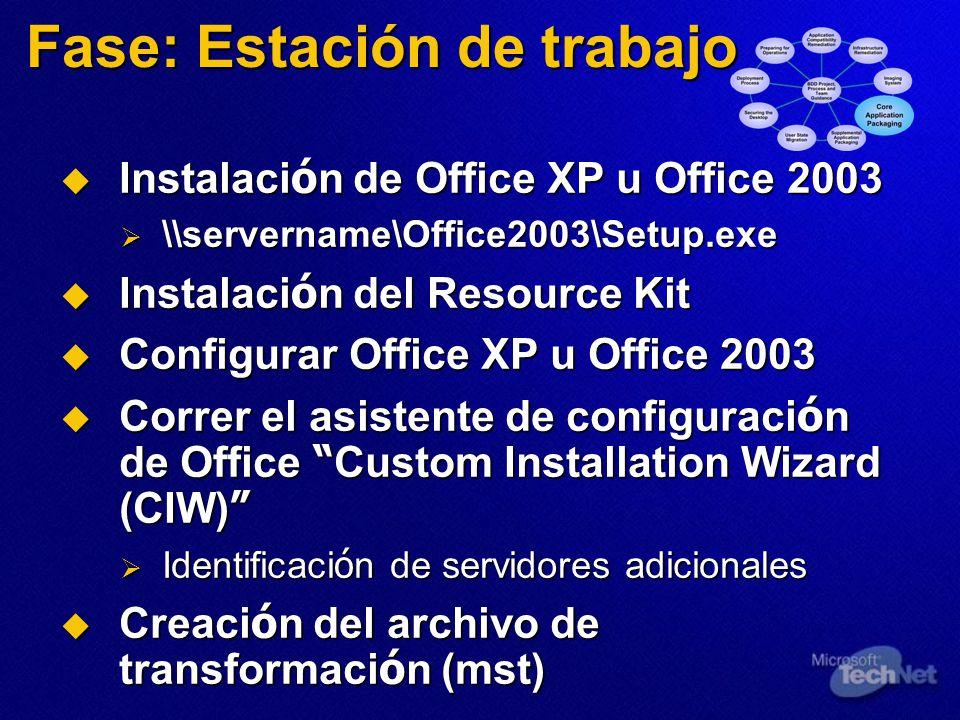 Fase: Estación de trabajo Instalaci ó n de Office XP u Office 2003 Instalaci ó n de Office XP u Office 2003 \\servername\Office2003\Setup.exe \\servername\Office2003\Setup.exe Instalaci ó n del Resource Kit Instalaci ó n del Resource Kit Configurar Office XP u Office 2003 Configurar Office XP u Office 2003 Correr el asistente de configuraci ó n de Office Custom Installation Wizard (CIW) Correr el asistente de configuraci ó n de Office Custom Installation Wizard (CIW) Identificaci ó n de servidores adicionales Identificaci ó n de servidores adicionales Creaci ó n del archivo de transformaci ó n (mst) Creaci ó n del archivo de transformaci ó n (mst)