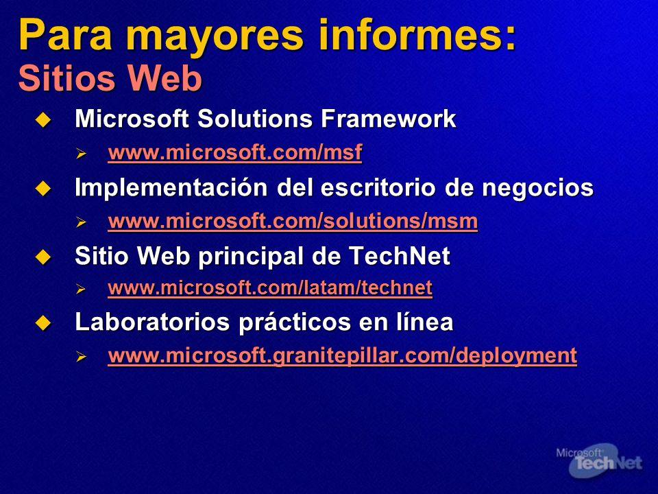 Para mayores informes: Sitios Web Microsoft Solutions Framework Microsoft Solutions Framework www.microsoft.com/msf www.microsoft.com/msf www.microsoft.com/msf Implementación del escritorio de negocios Implementación del escritorio de negocios www.microsoft.com/solutions/msm www.microsoft.com/solutions/msm Sitio Web principal de TechNet Sitio Web principal de TechNet www.microsoft.com/latam/technet www.microsoft.com/latam/technet www.microsoft.com/latam/technet www.microsoft.com/latam/technet Laboratorios prácticos en línea Laboratorios prácticos en línea www.microsoft.granitepillar.com/deployment www.microsoft.granitepillar.com/deployment