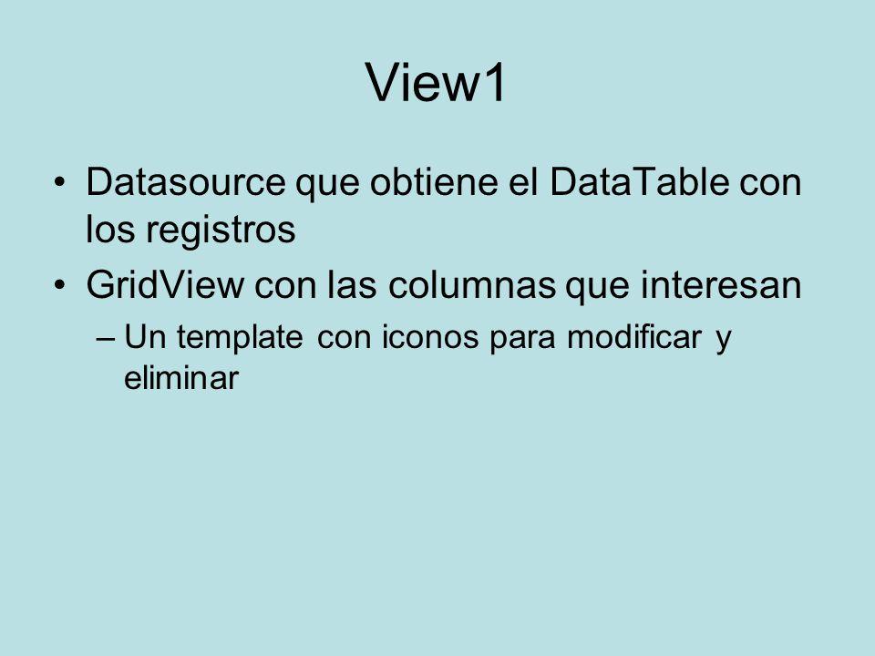 View1 Datasource que obtiene el DataTable con los registros GridView con las columnas que interesan –Un template con iconos para modificar y eliminar