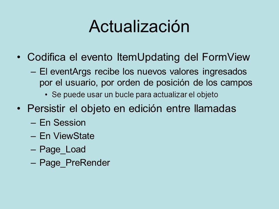 Actualización Codifica el evento ItemUpdating del FormView –El eventArgs recibe los nuevos valores ingresados por el usuario, por orden de posición de