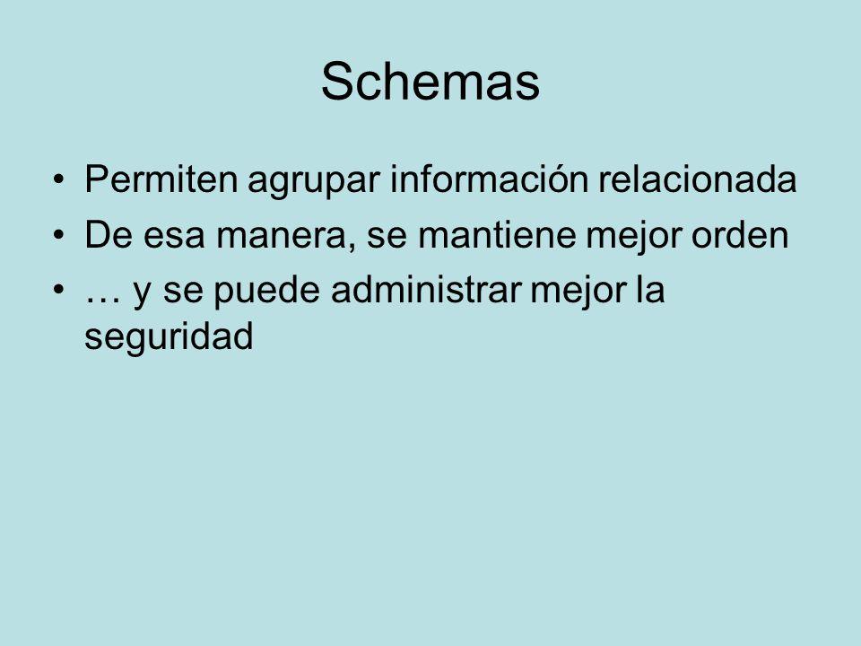 Schemas Permiten agrupar información relacionada De esa manera, se mantiene mejor orden … y se puede administrar mejor la seguridad