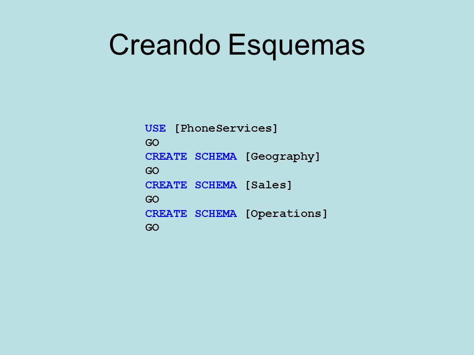 Creando Esquemas USE [PhoneServices] GO CREATE SCHEMA [Geography] GO CREATE SCHEMA [Sales] GO CREATE SCHEMA [Operations] GO