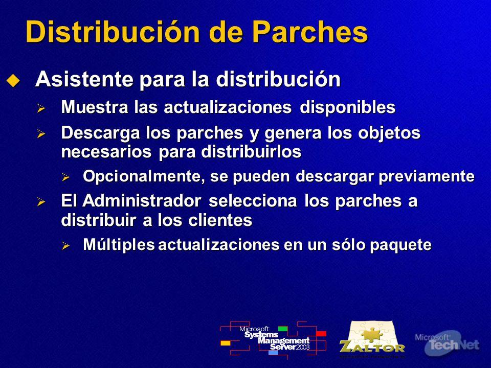 Distribución de Parches Asistente para la distribución Asistente para la distribución Muestra las actualizaciones disponibles Muestra las actualizaciones disponibles Descarga los parches y genera los objetos necesarios para distribuirlos Descarga los parches y genera los objetos necesarios para distribuirlos Opcionalmente, se pueden descargar previamente Opcionalmente, se pueden descargar previamente El Administrador selecciona los parches a distribuir a los clientes El Administrador selecciona los parches a distribuir a los clientes Múltiples actualizaciones en un sólo paquete Múltiples actualizaciones en un sólo paquete