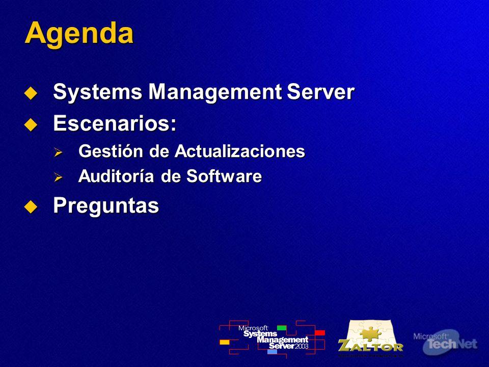 Agenda Systems Management Server Systems Management Server Escenarios: Escenarios: Gestión de Actualizaciones Gestión de Actualizaciones Auditoría de Software Auditoría de Software Preguntas Preguntas
