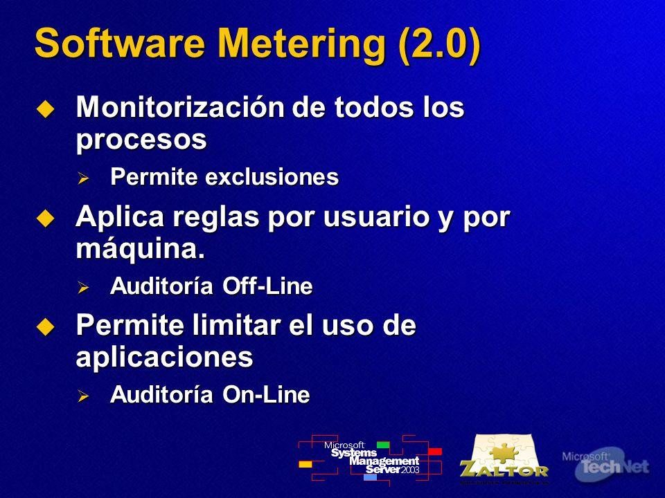 Software Metering (2.0) Monitorización de todos los procesos Monitorización de todos los procesos Permite exclusiones Permite exclusiones Aplica reglas por usuario y por máquina.