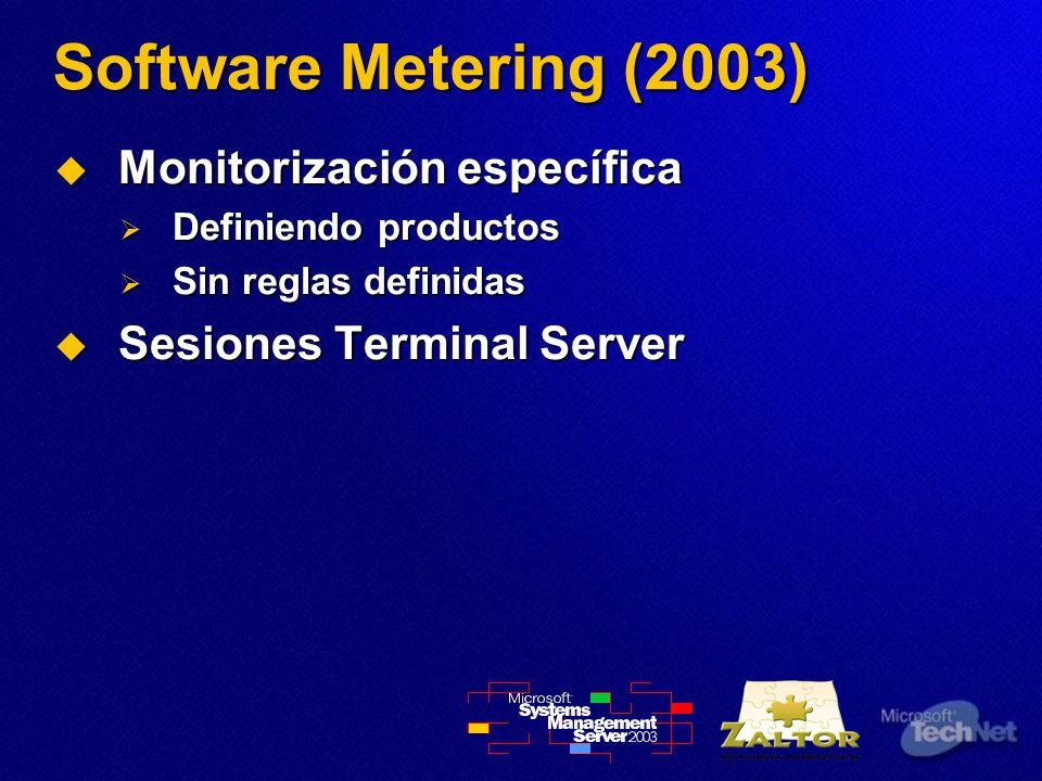 Software Metering (2003) Monitorización específica Monitorización específica Definiendo productos Definiendo productos Sin reglas definidas Sin reglas definidas Sesiones Terminal Server Sesiones Terminal Server