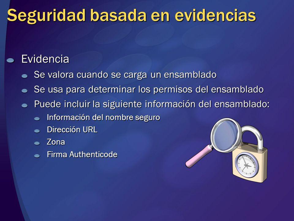 Seguridad basada en evidencias Evidencia Se valora cuando se carga un ensamblado Se usa para determinar los permisos del ensamblado Puede incluir la s