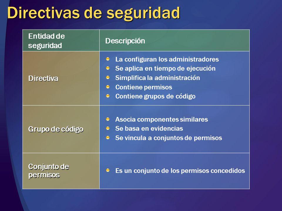Directivas de seguridad Entidad de seguridad Descripción Directiva La configuran los administradores Se aplica en tiempo de ejecución Simplifica la ad
