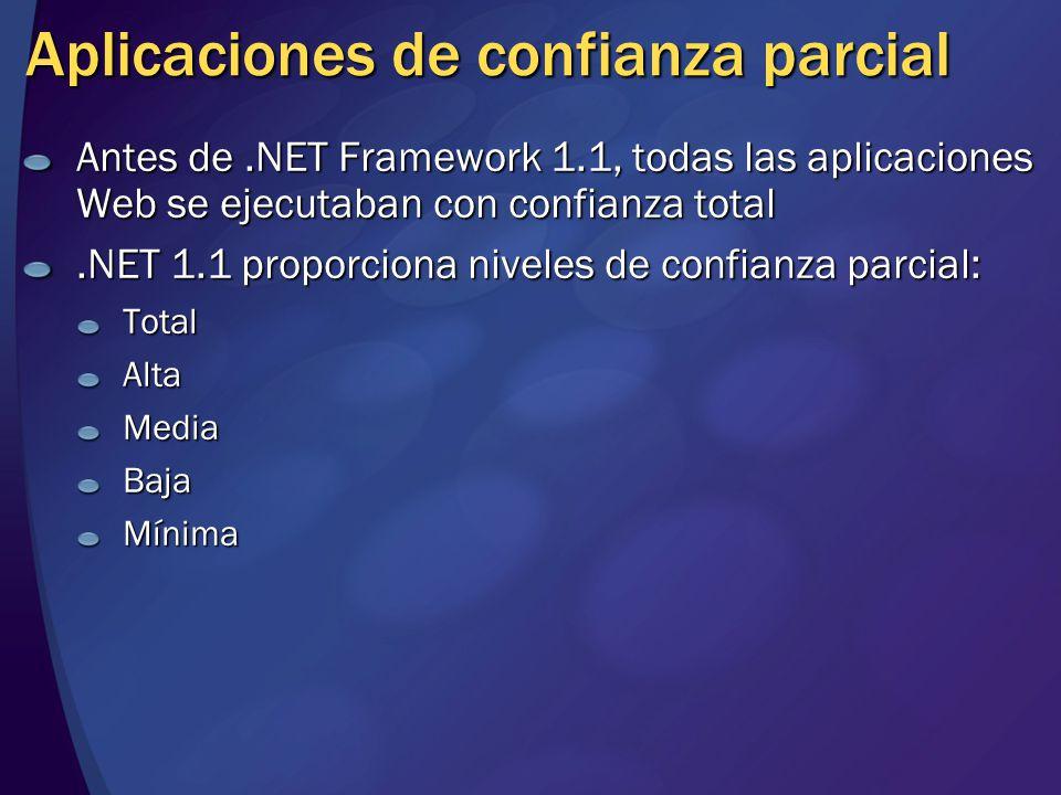 Aplicaciones de confianza parcial Antes de.NET Framework 1.1, todas las aplicaciones Web se ejecutaban con confianza total.NET 1.1 proporciona niveles