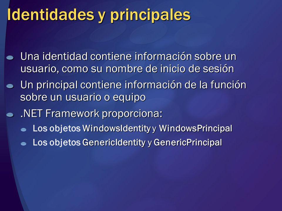 Identidades y principales Una identidad contiene información sobre un usuario, como su nombre de inicio de sesión Un principal contiene información de