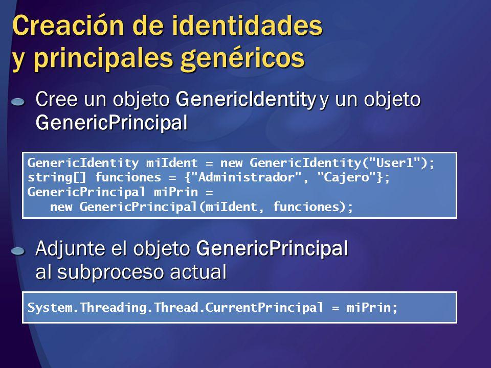 Creación de identidades y principales genéricos Cree un objeto GenericIdentity y un objeto GenericPrincipal Adjunte el objeto GenericPrincipal al subp