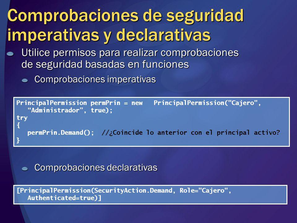 Comprobaciones de seguridad imperativas y declarativas Utilice permisos para realizar comprobaciones de seguridad basadas en funciones Comprobaciones