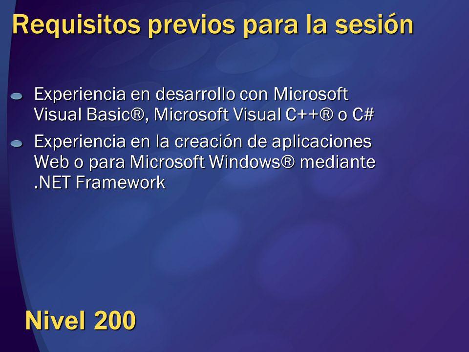 Requisitos previos para la sesión Experiencia en desarrollo con Microsoft Visual Basic®, Microsoft Visual C++® o C# Experiencia en la creación de apli