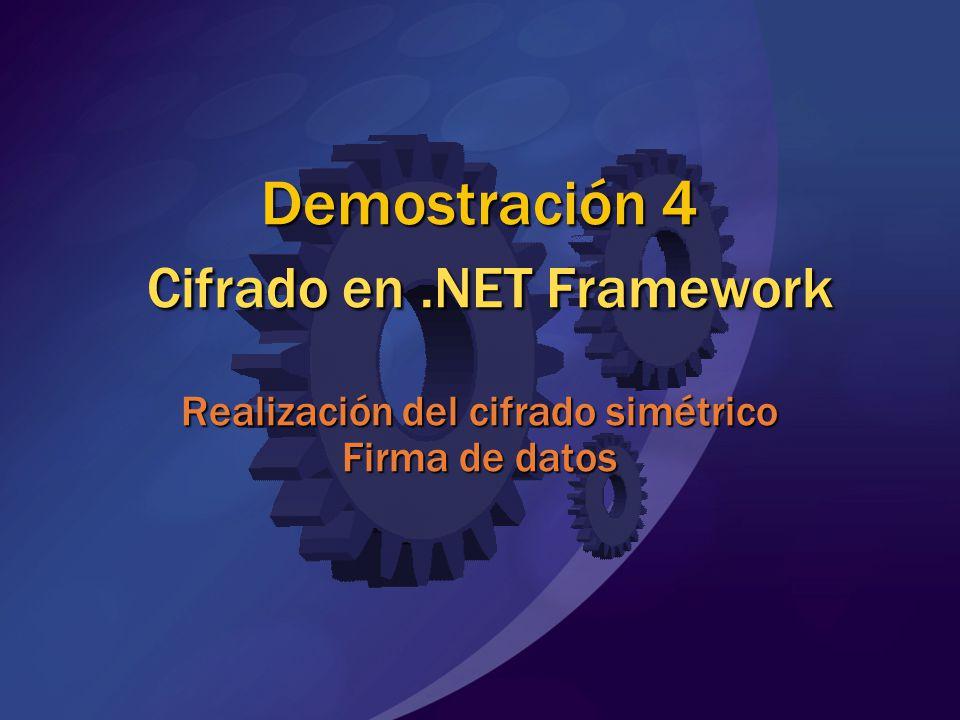 Demostración 4 Cifrado en.NET Framework Realización del cifrado simétrico Firma de datos