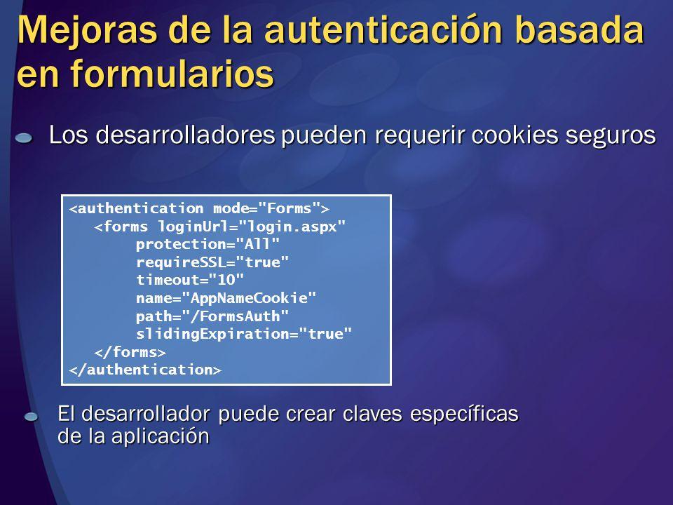 Mejoras de la autenticación basada en formularios Los desarrolladores pueden requerir cookies seguros <forms loginUrl=