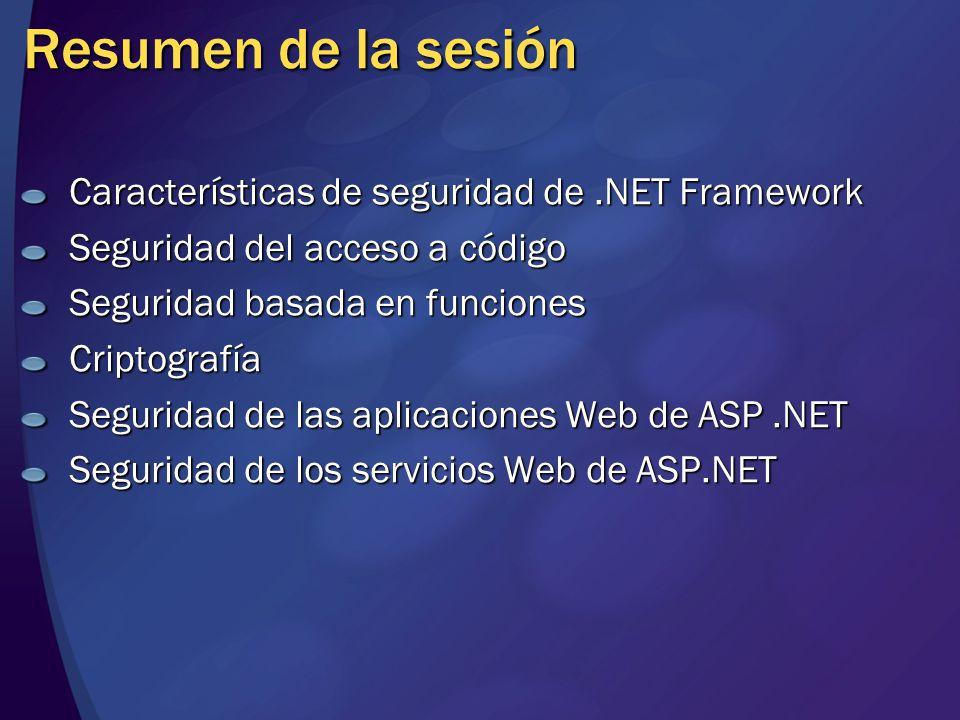 Resumen de la sesión Características de seguridad de.NET Framework Seguridad del acceso a código Seguridad basada en funciones Criptografía Seguridad