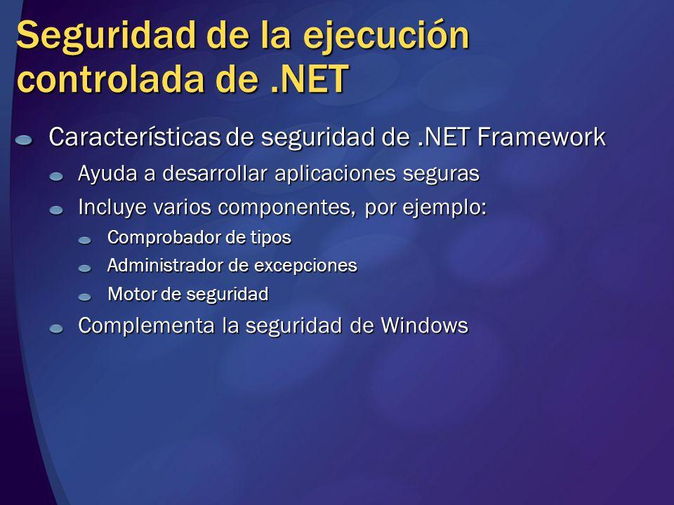Resumen de la sesión Características de seguridad de.NET Framework Seguridad del acceso a código Seguridad basada en funciones Criptografía Seguridad de las aplicaciones Web de ASP.NET Seguridad de los servicios Web de ASP.NET