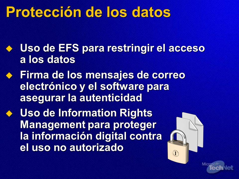 Protección de los datos Uso de EFS para restringir el acceso a los datos Uso de EFS para restringir el acceso a los datos Firma de los mensajes de cor