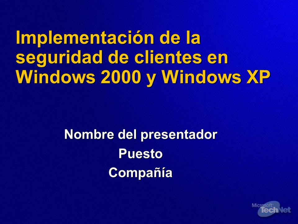 Implementación de la seguridad de clientes en Windows 2000 y Windows XP Nombre del presentador PuestoCompañía